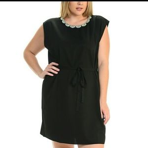 Black Beaded Collar Dress Size XL